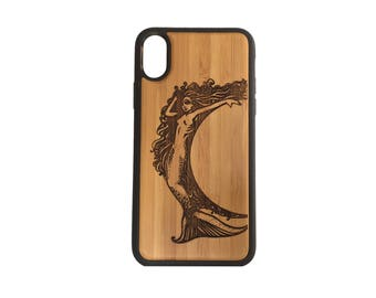 Mermaid iPhone Case Cover for iPhone X by iMakeTheCase Bamboo Wood Cover+TPU Wrapped Edges Mythology Folklore Sea Goddess Ocean Spirit Siren