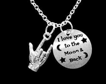 I Love You To The Moon And Back Sign Language Hand Symbol Gift Necklace