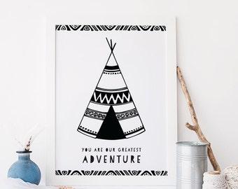 Tribal Nursery Decor Tribal Nursery Art Tribal Nursery Print Baby Shower Gift Baby Boy Nursery Tribal Wall Art Instant Download Black White