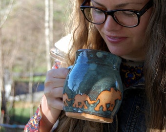 Elephants Mug in Slate Blue- Made to Order
