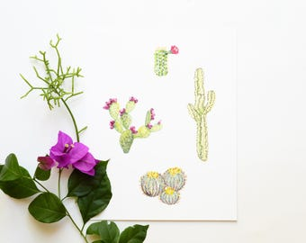 Cacti 8x10 Art Print - Cactus Plants Giclée Print