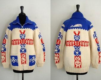 Vintage 1950's Cowichan Sweater / 50's Warrior Brand Totem Pole Novelty Hand Knit Men's Wool Cardigan