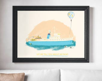 The Belafonte - Let Me Tell You About My Boat Art Print - The Life Aquatic Steve Zissou The Belafonte Wes Anderson Artwork