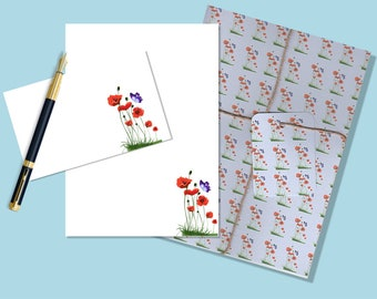 Poppies stationery, downloadable stationary, downloadable stationery, downloadable letter paper, printable stationary, printable stationery