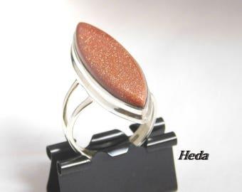 Vintage Handmade Sterling Silver Natural Sunstone Ring  ( Size 6.75 )