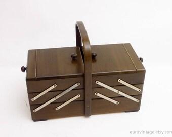 Vintage Large Wood Sewing Storage Box / Wooden Storage Box / Wooden Sewing Box 70s