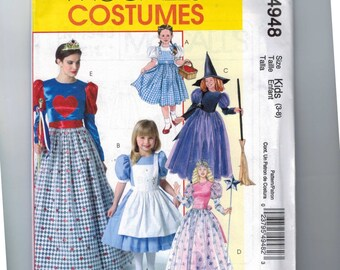Girls Costume Sewing Pattern McCalls M4948 4948 Dorothy Alice in Wonderland Good Bad Witch Queen of Hearts Halloween Size 3 4 5 6 7 8 UNCUT