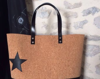 Cork and leather tote bag