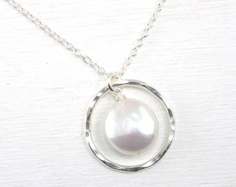 Pearl Pendant Necklace -  Silver and Pearl Drop Wedding Necklace - Sterling Silver, Freshwater Coin Pearl