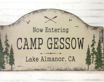 vacation house camp sign,  rustic camp decor, custom personalized family lake house, mountain home, rustic family camp sign