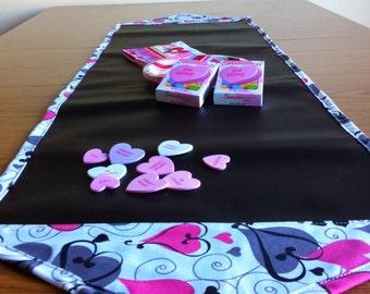 Table Runner - Heart Print Chalk Cloth Table Runner -  - Wedding Table Runner