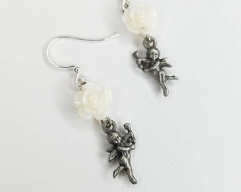 Angel + White Rose Earrings