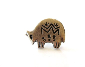 Fetish Bear Tie Tack Silver Pin Brooch Tribal Spirit Badge Southwestern