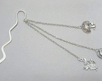 Teacup  bookmark,  inspired by Alice's adventures in wonderland circa 1865,with charms, stocking filler books,reading,christmas,