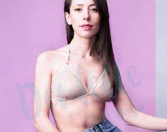 Champagne Lace bralette | Ivory bralette | Racerback bralette | Strappy Bralette | Sheer bra with adjustable back | Cage Bralette