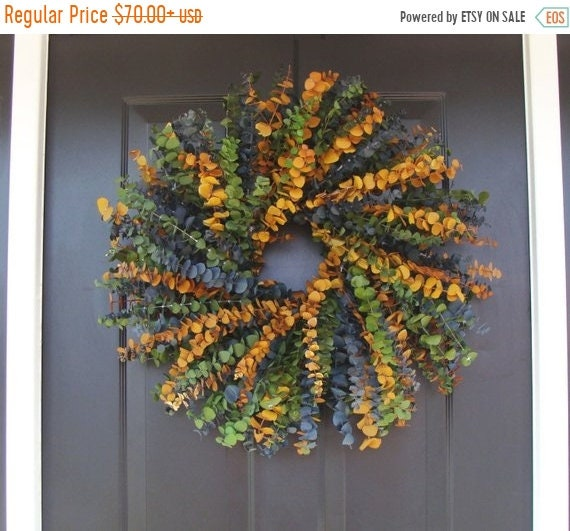 SUMMER WREATH SALE Eucalyptus Wreath, Dried Floral Wreath, Dried Floral Arrangement- Blue, Sage, and Amber in 16,20 or 24 inch Sizes, Wall D