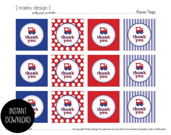 Train Party Favor Tags Birthday Thank You Labels Instant Download Choo Choo 2 Inch
