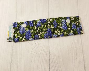 "Short Needle Cozy DPN Holder, Bluebonnets with daisies project holder 7""x2""- (Hold up to 6"" Needles) NCS0051"