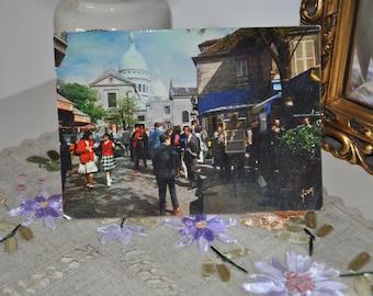 Vintage Parisian  Postcard Used. 1965. Paris Montmartre, Sacre Coeur.