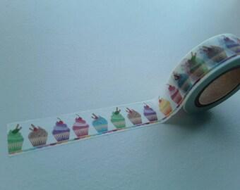 Masking/washi tape with rainbow cupcakes 15mmx10m