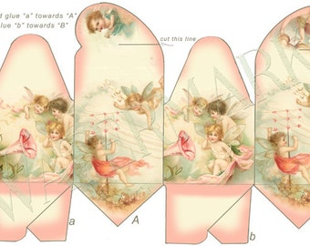 Angel Baby Cupid Fairies Gift Pillow Printable Box Digital Download Party Favor Chocolate Candy Valentine Birthday