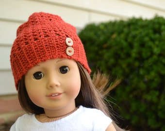 Doll Clothes - Boy or Girl Doll - Doll Beanie for 18 inch - Crocheted Slouch Beanie - Pumpkin Orange  - MADE TO ORDER - fits American Girl