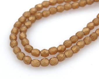 100/pc Sueded Gold Smoky Topaz Czech 4mm Fire-polished Faceted Round Beads