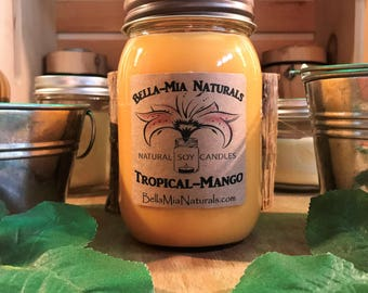 Tropical-Mango Hand Poured Natural Soy Candles Hand-Crafted in Sparta,NJ