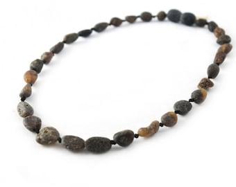 Black Children Amber Beads Teething Necklace