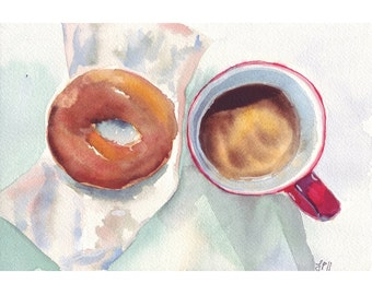 Watercolor Painting - Coffee Art- Red and Brown Coffee and Donut Art Print, 8x10