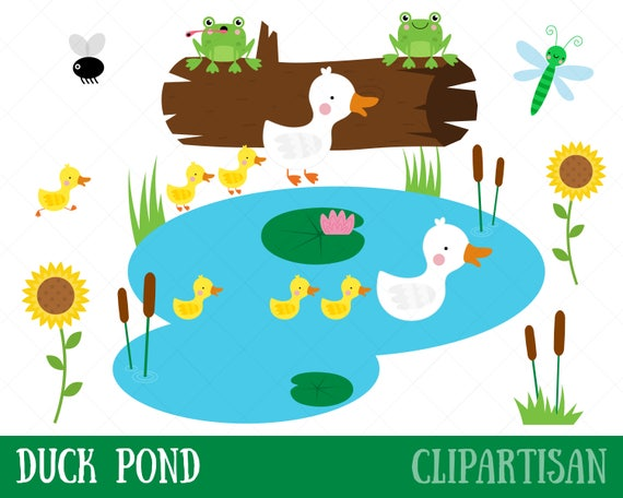 duck pond clipart mother duck and ducklings clip art rh etsy com pond clip art free pond background clipart