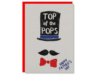 Top of the pops fathers day card | Top hat and moustache | Gentle man father's day