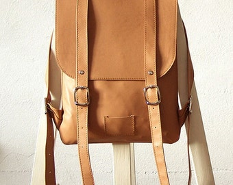 SALE! / Soft beige  leather backpack rucksack / In stock / Small backpack / Leather backpack / Leather rucksack / Womens backpack / Gift