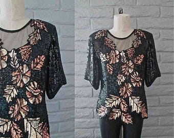 Vintage 1980's sequin and beaded blouse GOLD LEAVES silk short sleeved - M/L