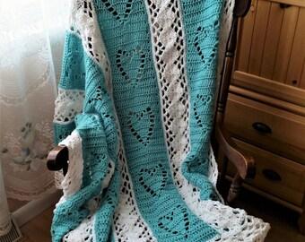 Crochet Afghan, Crochet Heart Afghan, Bridal Shower Gift