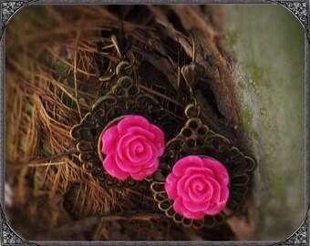 Art Nouveau Earrings Fuchsia