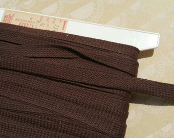 "Vintage Brown Trim - Brown Woven Braid Bias Tape - 5/8"" Wide - 18 Yards - Last of Spool - DESTASH SALE"