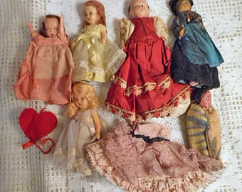 6 Vintage DOLLS 1950s & Older 3 Storybook Blond Brown Red Hair, Antique German Red Dress, European in Ethnic Outfit, Native Amer in Blanket