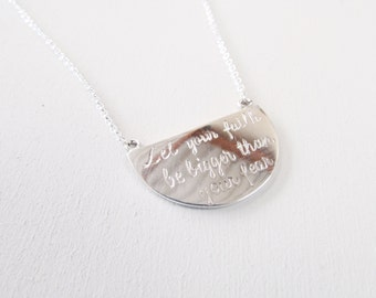 engraved necklace quote necklace let your faith be bigger than your fear