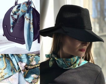 """Silk Scarf polyester chiffon scarf """"Van Gogh Almond"""" gift for her gift for him gift idea custom printed scarf"""