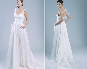 Amabile maxi bridal skirt with train and pockets bridal separates