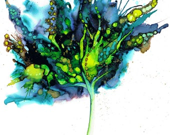 Blue Green Botanical. Print of an original ink painting