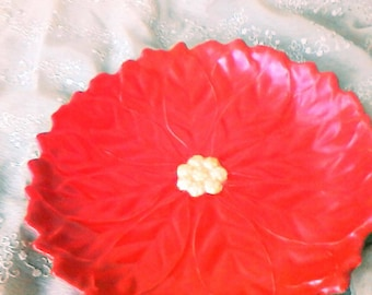 Hand Painted Ceramic Poinsettia Dish from  Vintage Ceramic Mold
