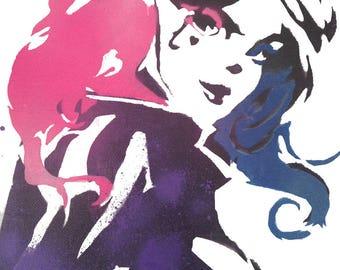 Harley Quinn Stencil Art - Spray Paint