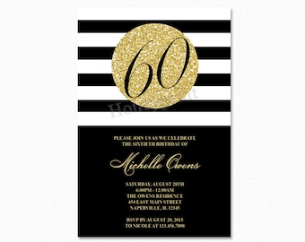 Gold 60th Birthday Party Invitation, Black and White Stripes, 60th Birthday Invitation, Milestone Birthday, Printable or Printed