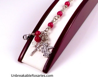 Saint Michael The Archangel Rosary Bracelet In Faceted Red Jade by Unbreakable Rosaries