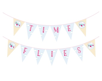 Airplane Birthday Banner - Time Flies or Happy Birthday