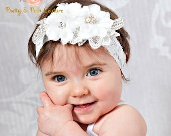 White baby headband, Christening headband, bridal headband, Baptism headband, flower girl headband, crystal headband, rhinestone headband.