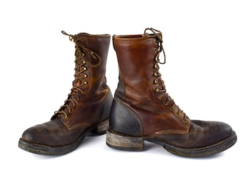 Brown Packer Work Boots with Kiltie by Double H, Lacer Boots