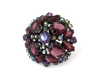 Vintage JULIANA Purple Rhinestone Dome Brooch, D&E Aurora Borealis Pin, 1960s Costume Jewelry